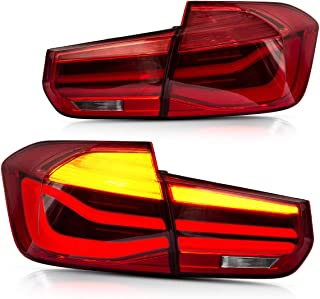 YUANZHENG LED Sequential Tail Lights for [BMW F30 F35 Sedan 6th Gen 2013 2014 2015] with Fiber Optic DRLs YAB-BW-0293, Red Lens