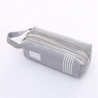 YWSCXMY-AU Double Zipper Large Pencil Case Canvas Big Pen Box Cute Stationery Pencil Bag (Color : Gray)