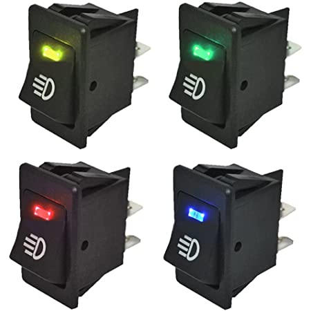 E Support Kfz Auto Boot Kippschalter Druckschalter Schalter 12v Blau Rot Grün Gelb Led Licht Nebelscheinwerfer Auto