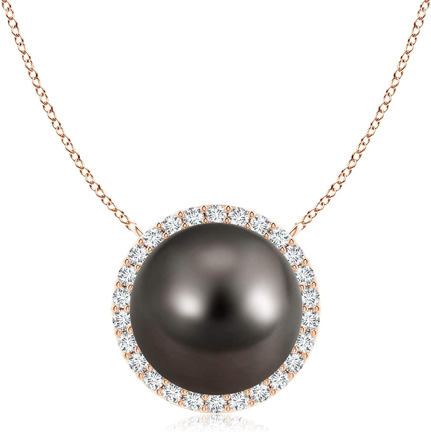 Tahitian Cultured free shipping Pearl Pendant with Diamond Halo 9mm Max 89% OFF