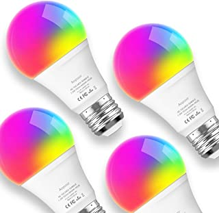 لامپ لامپ هوشمند Aoycocr ، Dimmable E26 LED سازگار با دستیار و IFTTT صفحه اصلی گوگل آمازون ، بدون نیاز به توپی ، Wi-Fi ، 75W Equivalent ، A19 RGB Multololor Bulb 7.5W ، 4 Pack
