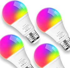 Smart Lights Led Bulb Daylight Aoycocr(6500K) 7.5W A19 - Medium Screw Base (E26) - 750 Lumens(65W equiv.) - Dimmable - RGB Color Changing - Voice Control - No Hub Required - UL Listed - 4 Pack