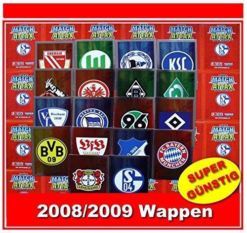 Unbekannt Match Attax 2008/2009 Topps - Fußball Bundesliga - Wappen Vereinslogo alle 18 Verschiedene Vereinslogos
