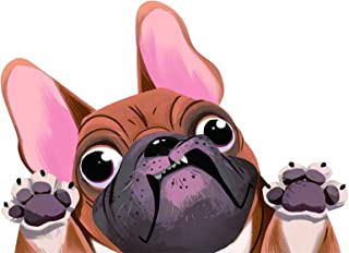 1PCS Dog Car Sticker Funny Face Big Ears and Eyes Pug Dog Sticker for Car Back Window Wall Door Laptop 8.7 * 6.3in Yellow