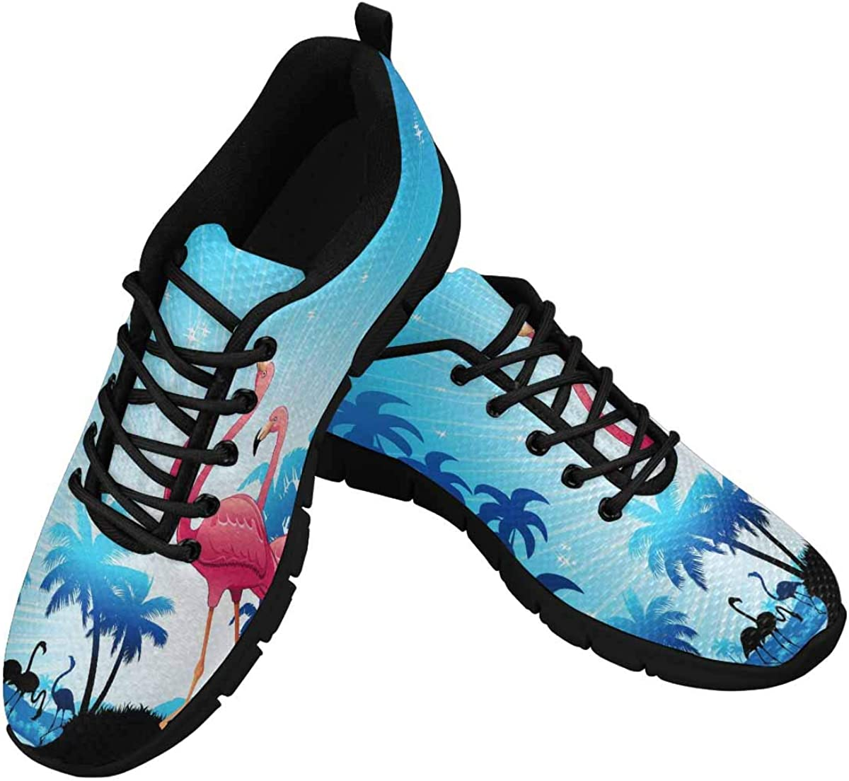 INTERESTPRINT Pink Flamingos Women's Lace Up Breathable Non Slip Sneaker