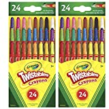 Mini Twistables Crayons, 24 Classic Colors Non-Toxic Art Tools for Kids & Toddlers 3 & Up, Great for Kids Classrooms Or Preschools, Self-Sharpening No-Mess Twist-Up Crayons (2 Pack)
