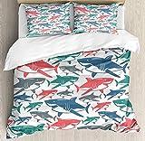 Juego de funda nórdica de 3 piezas Mezcla de coloridos patrones de la familia del tiburón toro Maestros depredadores de supervivencia Naturaleza peligrosa, juego de cama de microfibra de lujo (1 funda
