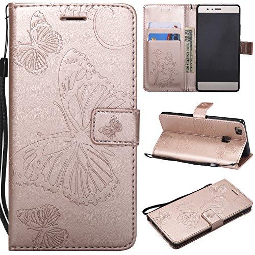 WindTeco Funda Huawei P9 Lite, Mariposa Patrón Carcasa Libro con Correa de Mano Cubierta de Billetera Silicona Case Protectora Soporte y Ranuras para Tarjetas para Huawei P9 Lite, Oro Rosa