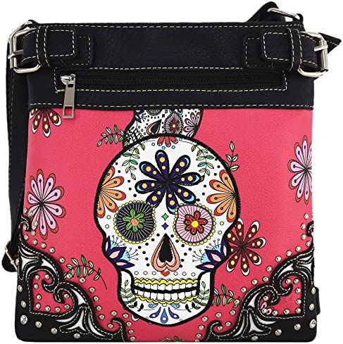 Sugar Skull Day of the Dead Cross Body Handbags Concealed Carry Purses Country Women Single product image