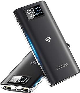 【2019最新版】モバイルバッテリー 大容量 15600mAh スマホ充電器 LCD残量表示 2つUSB出力ポート(1A+2.1A)急速充電バッテリー 軽量 薄型 旅行/緊急用 Android/iPhone/iPad対応 (ブラック)