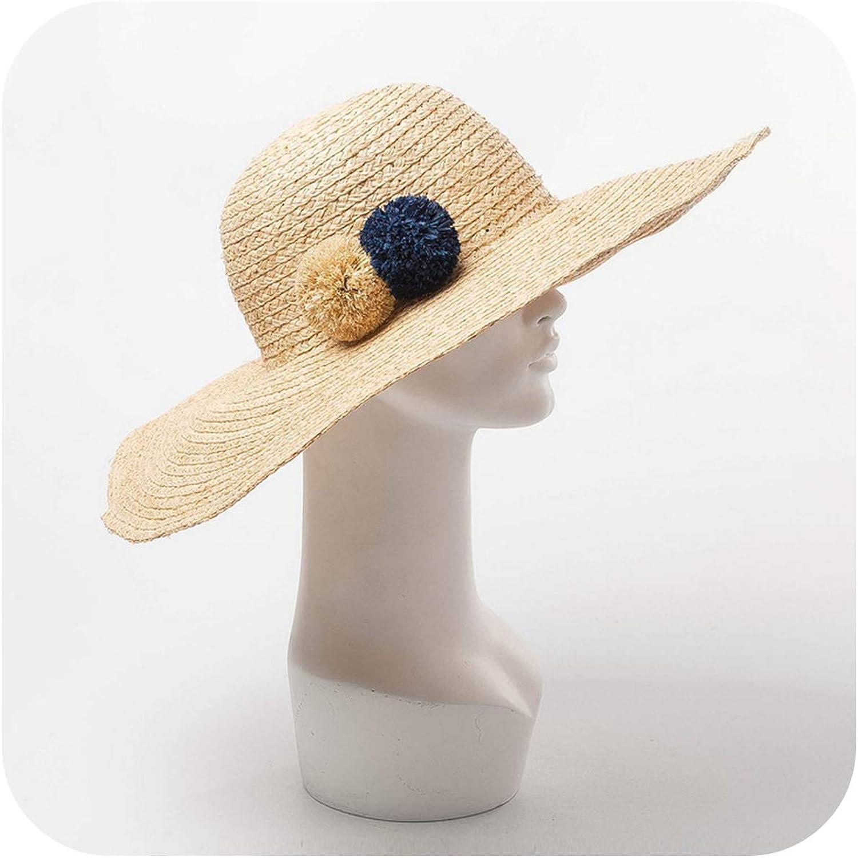 Raffia Hat with Pompoms Wide Brim Floppy Hat Women Summer Beach Sun Vacation Hats