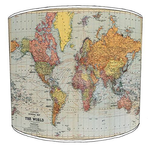 Premier Lighting Ltd 12 inch stanfords World Map cavallini Style Drum Shade pour Une Lampe de Table