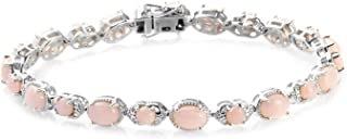 925 Sterling Silver Platinum Plated Oval Pink Opal Bracelet Jewelry for Women Gift Size 8