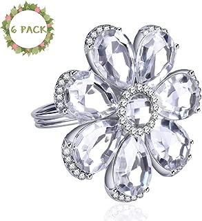 RESTARDS Set of 6 Silver Crystal Flower Napkin Rings