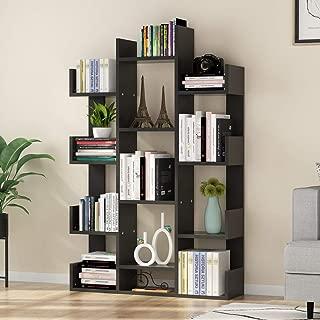 Tribesigns 12-Shelf Bookcase, Modern Tree Bookshelf Book Rack Display Shelf Storage Organizer for CDs, Records, Books, Home Office Deco (Black)