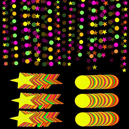 Iceyyyy 78ft Black Light Neon Star, Circle Dots Paper Garland Banner Hanging Decorations, Glow-in-The-Dark for Birthdays Party Wedding Decorations (6 Pack)