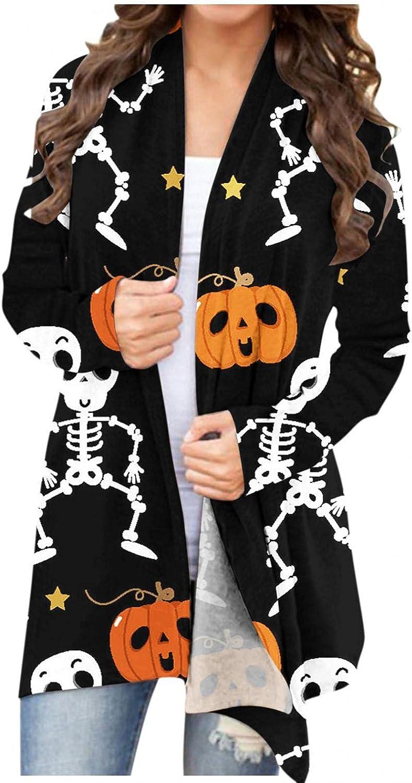 Cardigan Sweaters for Women,Long Sleeve Open Front Sweaters Halloween Pumpkin Ghost Printed Lightweight Coat
