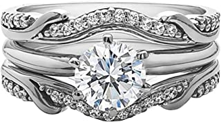 925 Sterling Silver 1.50 Ct Round Cut Simulated Diamond Interchangeable Women's Wedding Engagement Ring Set