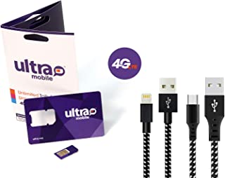 Cell Phone and Smart Phone Compatible SIM Card for 2G 3G 4G LTE GSM (T-Mobile) Devices - iPhone, Galaxy, Smartwatches and Wearables - Choose Your Plan - 3ft Lightning and Micro USB Cable