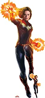 Star Cutouts SC1302 Captain Marvel Lifesize Cutout with Free Mini Cardboard Standee Carol Danvers Brie Larson 177cm Tall Perfect for Fans Collectors Parties and Events, Multicolour