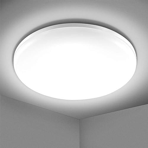 Plafonnier LED 24W, Elfeland Luminaire Plafonnier 2200LM Blanc Froid 5000K Éclairage de Plafond Étanche IP54 Lampe Pl...