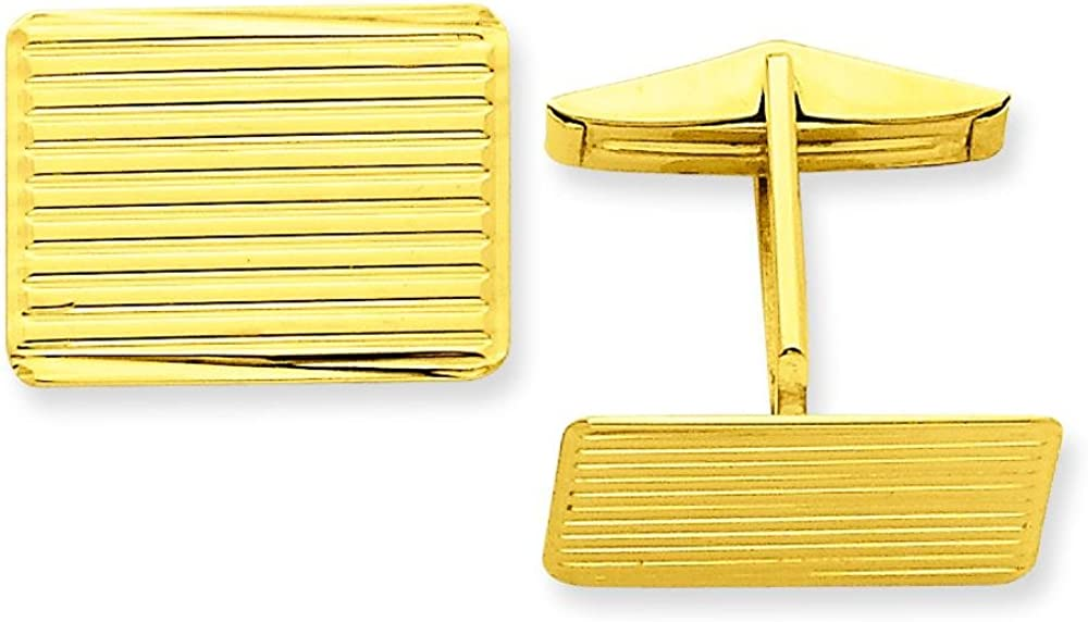 14K Yellow Gold Cuff Links Polished Mens Jewelry