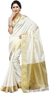 MIMOSA Women's Art Fancy Silk Saree Color: Half White(3216-163-HWHT)