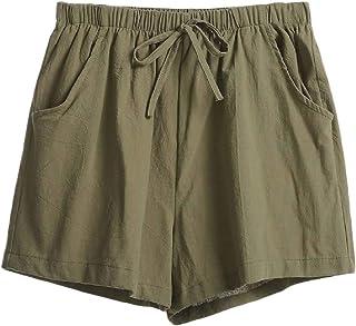 Ptyhk RG Women Relaxed Fit Leisure Elastic Waist Cotton Linen Drawstring Shorts