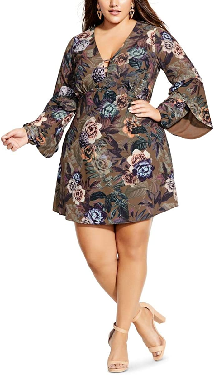 City Chic Women's Apparel Women's Plus Size V Necked Dress with Ruffled Sleeves