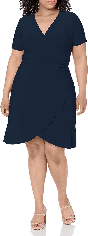 Star Vixen Women's Plus-Size Short-Sleeve Ballerina Wrap Dress