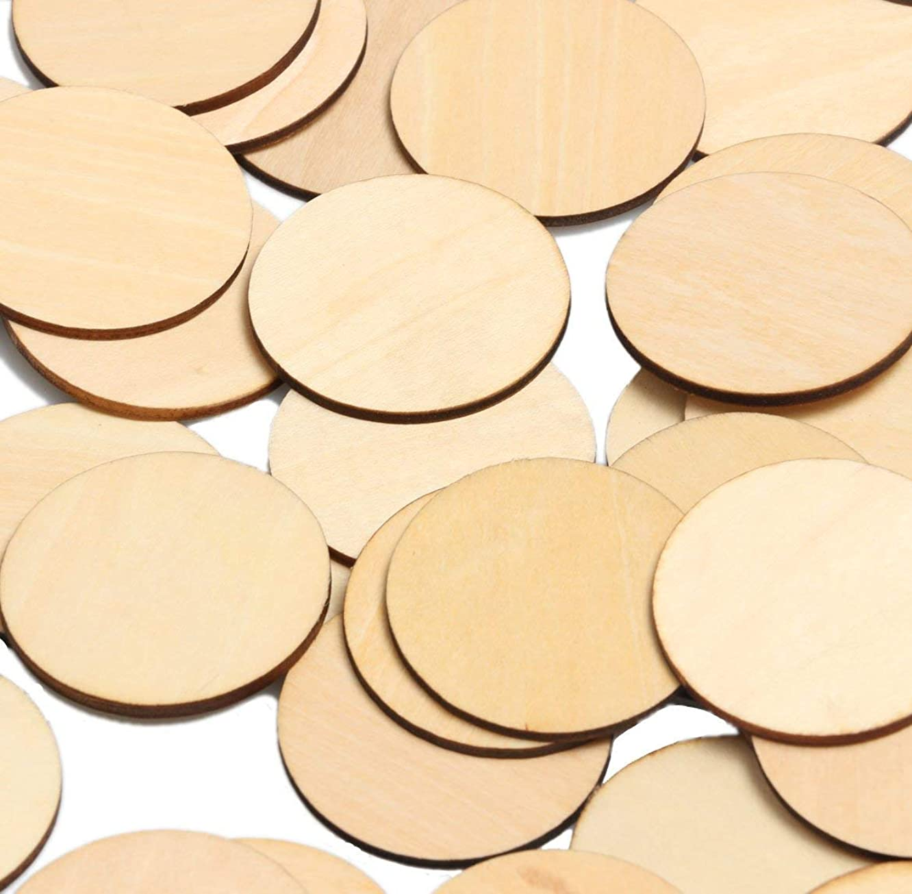 woodeni 2-Inch Unfinished Round Wooden Circles Blank Wood Cutout Slices Discs DIY Crafts(50pcs)