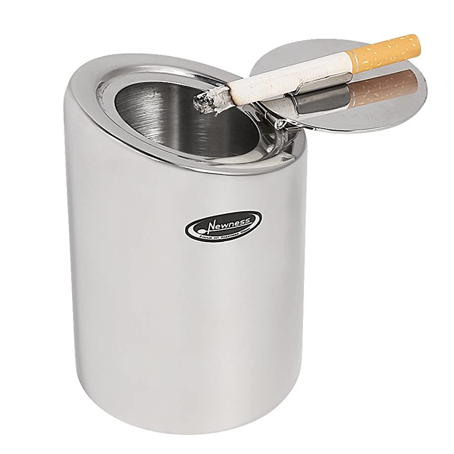 Car Ashtray, Newness Stainless Steel Modern Car Ashtray with Lid, Cigarette Ashtray for Car, Auto, Indoor Tabletop or Outdoor Use, Ash Holder for Smokers, Desktop Smoking Ash Tray for Home Office