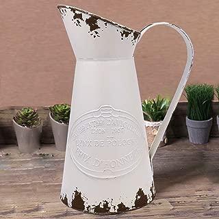 YHOMBES Shabby Chic Large Metal Jug Flower Pitcher Vase Primitive Jug Vase for Home Decoration