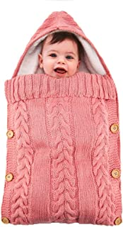 Ocamo Baby Side Button Thickening Velvet Knitted Warm Sleeping Bag for Kick Proof Stroller Pink 7035cm