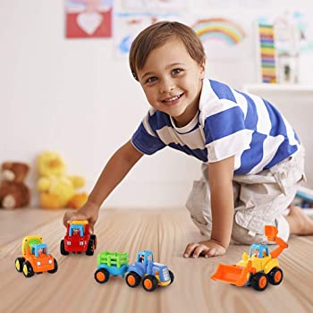 Coogam 4 Pack Friction Powered Cars Construction Vehicles Toy Set Cartoon Push and Go Car Tractor, Bulldozer, Cement ...