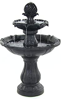 Sunnydaze Two-Tier Solar Outdoor Fountain with Battery Backup - Garden and Patio Water Feature with Rechargeable Solar Battery - 35-Inch - Black Finish