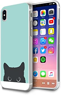 HelloGiftify iPhone X Case, Tiffany Blue&Cat TPU Soft Gel Protective Case for iPhone X