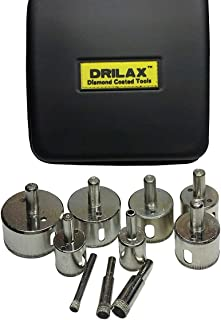 Drilax Diamond Drill Bit Hole Saw Set 10 Pcs 1/4, 3/8, 1/2 (0.5 Inch), 3/4, 1, 1 1/4, 1 3/8, 1 1/2, 1 3/4, 2 inches Kitchen, Bath, DIY Faucet Drilling Tool Ceramic, Porcelain Tiles, Glass, Granite