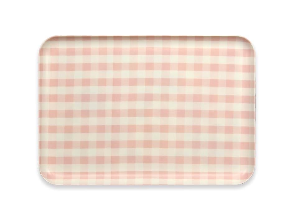 酸化する郵便物ヒープタツクラフト CN ランチョン トレー M ミルキー チェック ピンク すべり止め付 プラスチック おしゃれ お盆