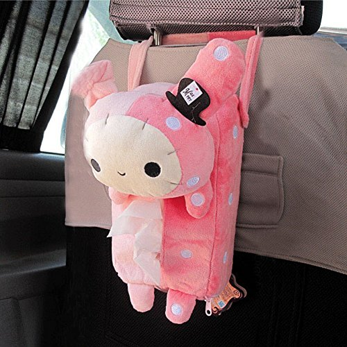 Urparcel Cute Soft Pink Plush Master Rabbit Tissue Box Cover Car Accessories Home Decor