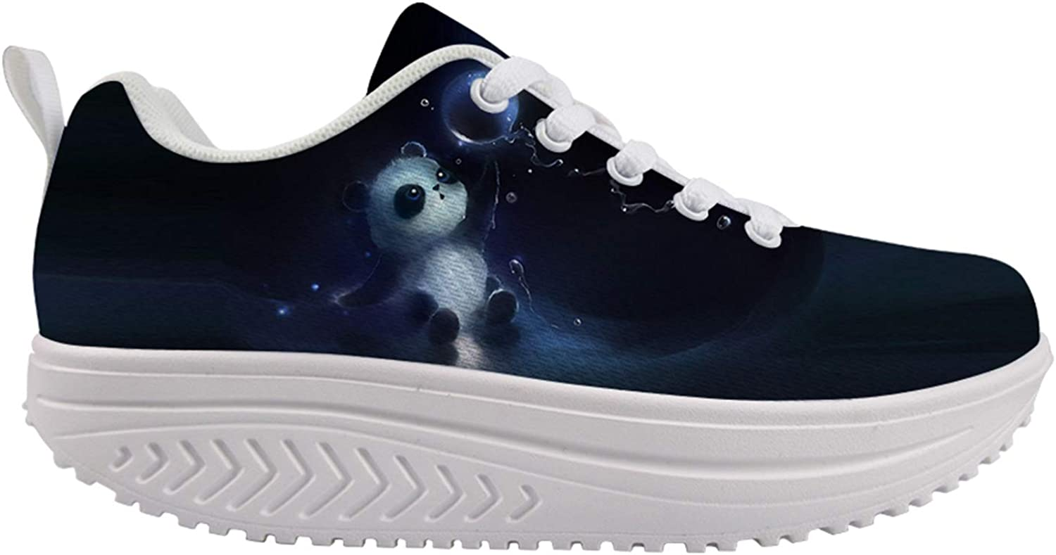 Owaheson Lovely Panda Bear Baby Playing Water Polo Women's Walking Shoes Arch Support Comfort Light Weight Non Slip Work Shoes Lady Girls Modern Jazz Dance Sneaker