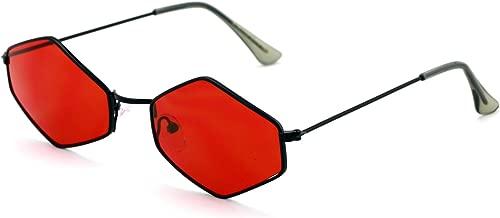 V.W.E. Metal Frame Slim Temple Color Lens Hexagon Sunglasses Rock and Roll