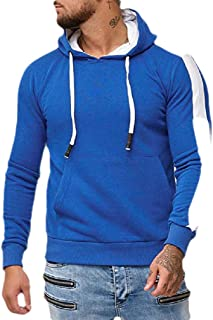 MogogoMen Casual Cotton Contrast Sport Long Sleeve Sweatshirts with Hood
