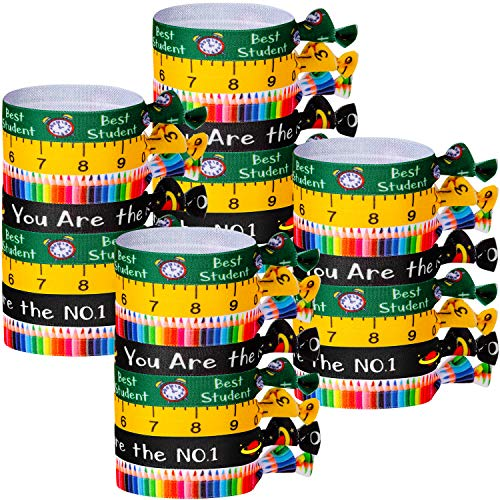32 Pieces Back to School Hair Ties No Crease Ribbon Hair Ties Ribbon Bands Elastic Ponytail Holder for Student Teacher Appreciation Gift