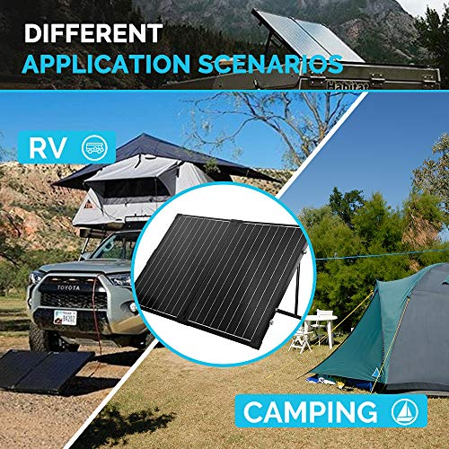 Renogy 100 Watt 12 Volt Monocrystalline Off Grid Portable Foldable 2Pcs 50W Solar Panel Suitcase Built-in Kickstand with Waterproof 20A Charger Controller