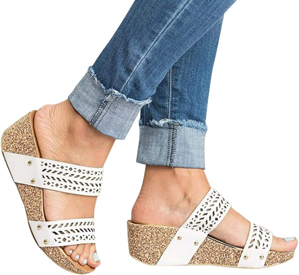 Gibobby Espadrilles Sandals for Women Flat,Wedges Sandals Platform Casual Summer Middle Heels Open Toe Sandals
