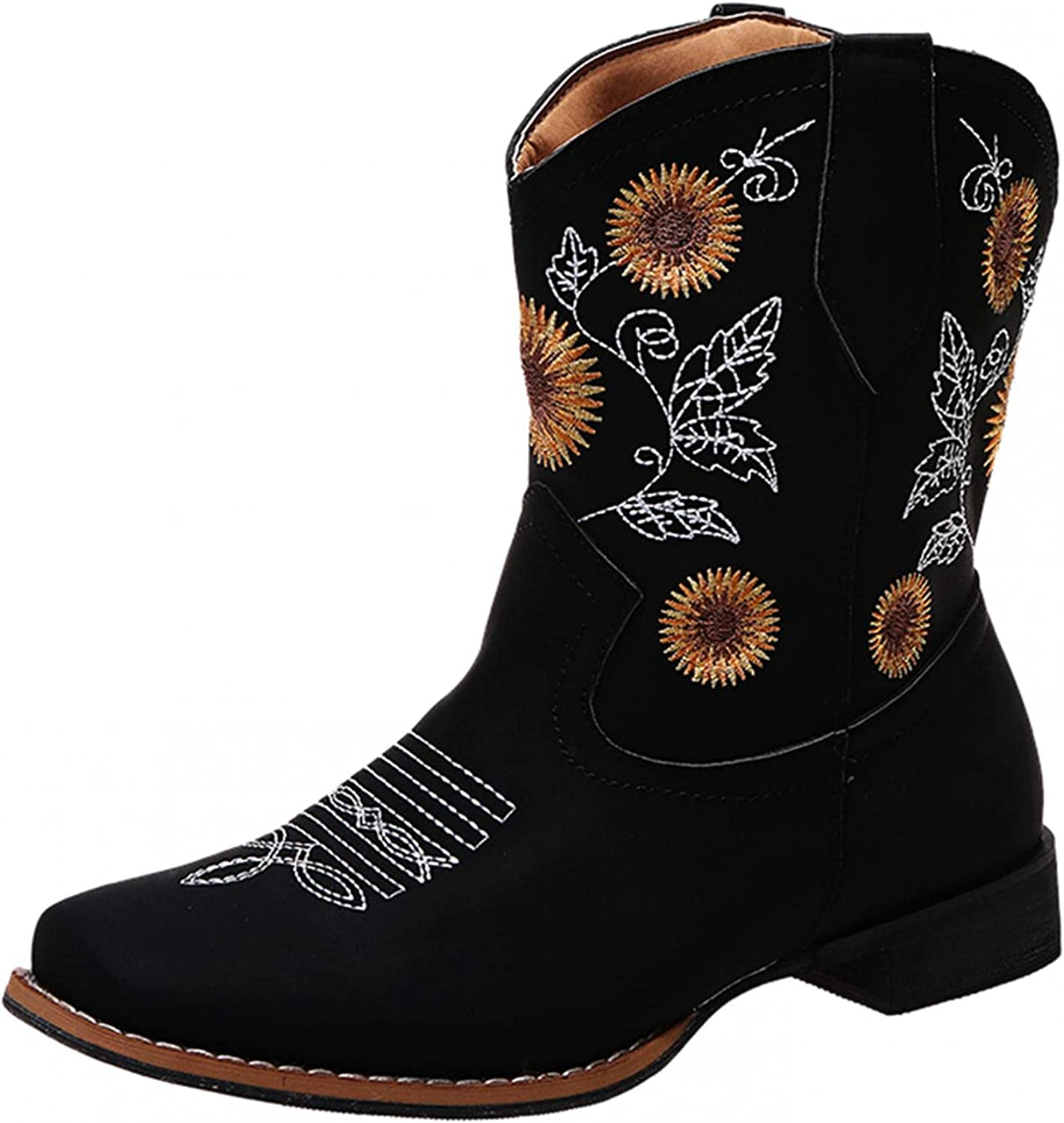 AODONG Ankle Booties for Women Sunflowers Embroidery Cowboy Boots Mid Calf Chunky Heel Retro Low Heel Pull On Boots