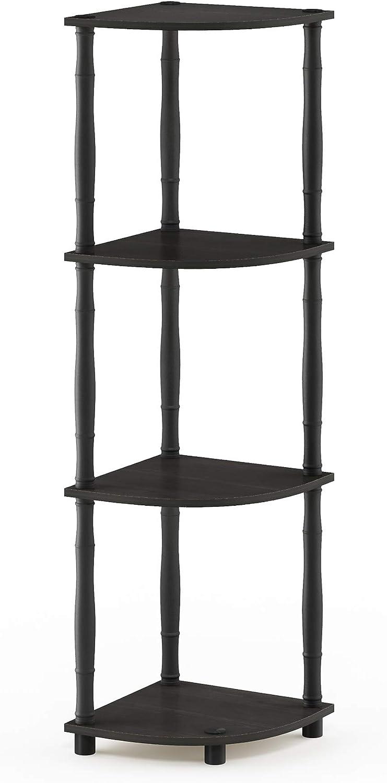 Furinno Turn-N 4-Tier Multipurpose Corner Display Rack with Classic Tubes, Espresso/Black