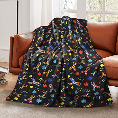 LELEMATE Autism Awareness Special Love Throw Blanket Super Soft Flannel Blanket Decorative Sofa Blanket for Kids Adults Warm Cozy 60'X50' Couch Blankets for Living Room Home Travel Camping Beach