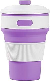 SLACTech Tazas de Café Plegable, 350 ML caño Seguro Plegable Taza y práctico Taza de Viaje portátil para Viajes, Camping, Ciclismo(Púrpura)